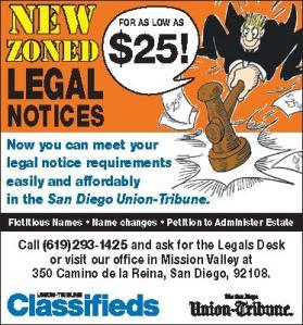 Classifed Legal Notice Ad